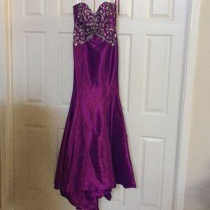 Purple strapless Jovani trumpet gown 110636